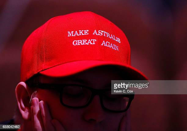 A fan wears a hat with the words 'Make Astralis Great Again' during the ELEAGUE CounterStrike Global Offensive Major Championship finals at Fox...