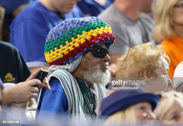 A fan wears a rasta hat as he watches the Toronto Blue Jays MLB game against the Tampa Bay Rays at Rogers Centre on August 14 2017 in Toronto Canada