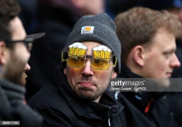 A fan wears novelty glasses