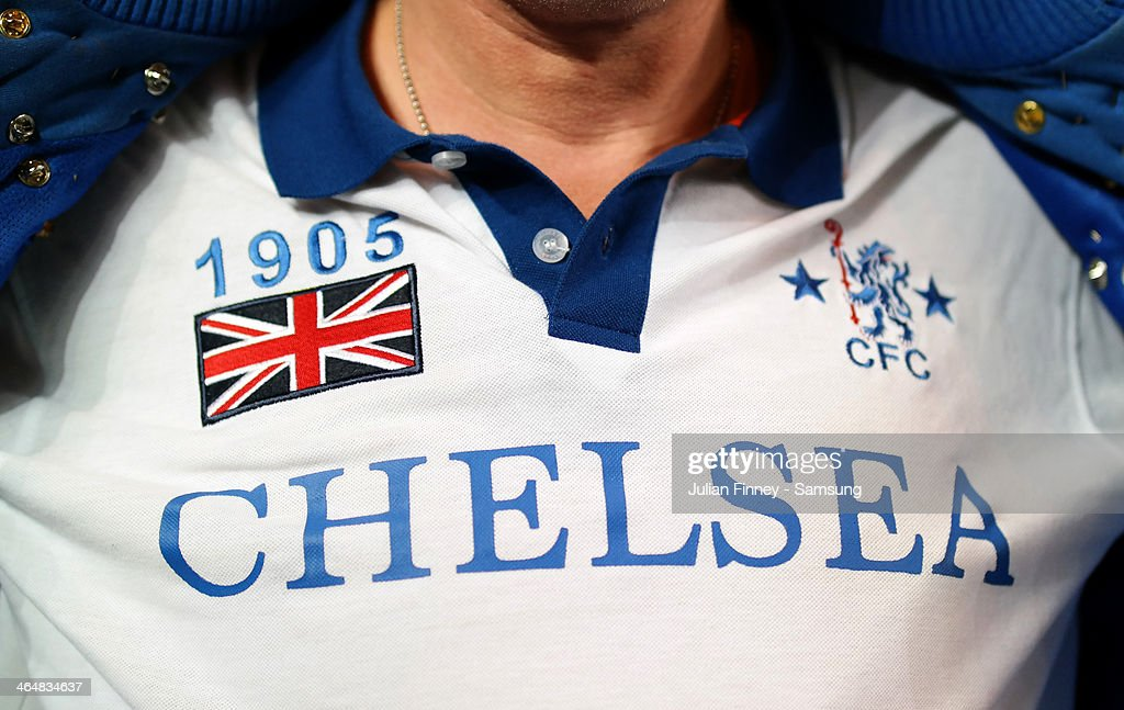 A fan wears the Chelsea colours during the Barclays Premier League match between Chelsea and West Bromwich Albion at Stamford Bridge on November 9, 2013 in London, England.