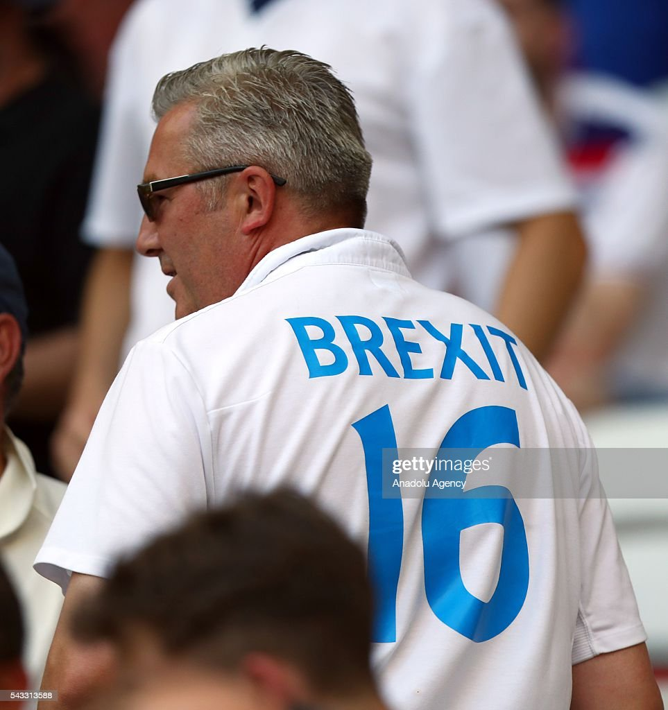 A fan with a jersey reading Brexit supports his team during the UEFA Euro 2016 Round of 16 football match between Iceland and England at Stade de Nice in Nice, France on June 27, 2016.