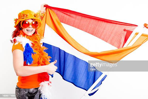 Fan with Dutch flag and orange pennant