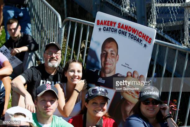 Fan with sign for New England Patriots tight end Rob Gronkowski during New England Patriots training camp on July 30 at the Patriots Practice...