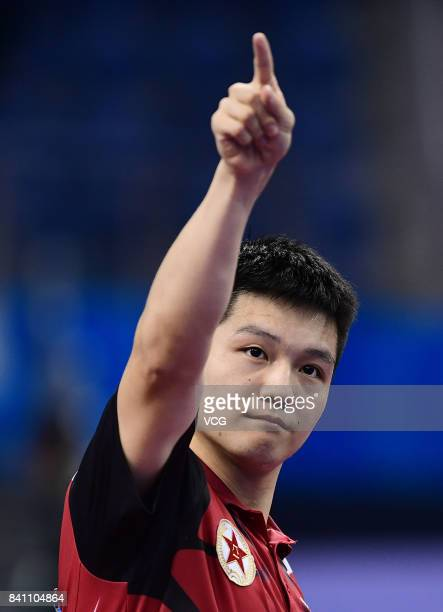 Fan Zhendong of China gestures in the Men's Team second stage matches of the 13th Chinese National Games at Wuqing sport center on August 30 2017 in...