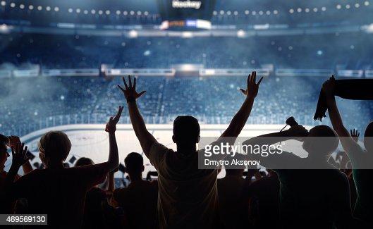 Fanatical hockey fans at a stadium