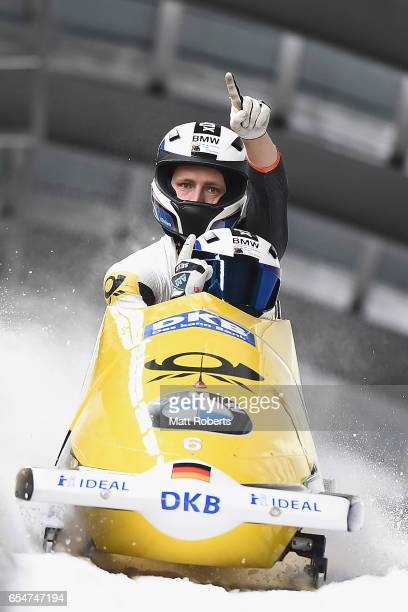 Fancesco Friedrich and Thorsten Margis of Germany celebrate victory in the 2man Bobsleigh during the BMW IBSF World Cup Bob Skeleton PyeongChang...