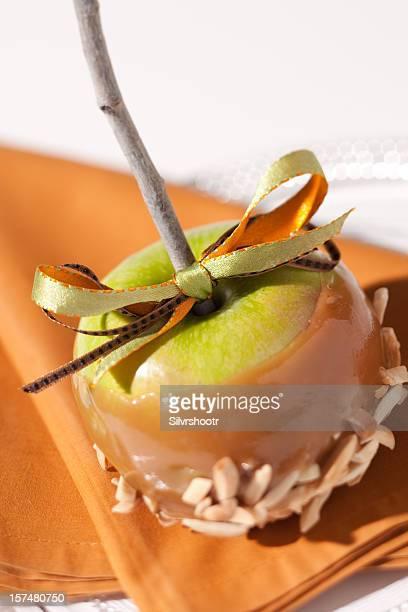 Fancy carmel apple on a plate