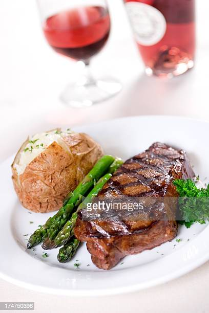 A fancy dinner of steak and wine