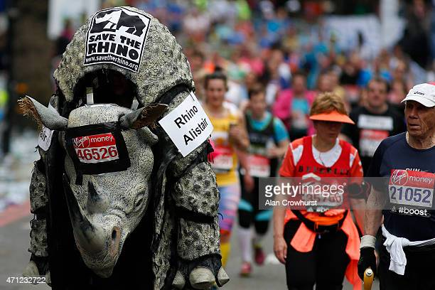 Fancy dress during the Virgin Money London Marathon on April 26 2015 in London England