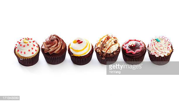 Fancy Gourmet Cupcakes, Dessert Temptations in Row on White Backround