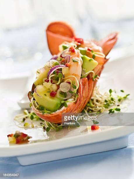 Fancy lobster salad on a white plate
