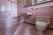 Fancy pink bathroom in a classic home