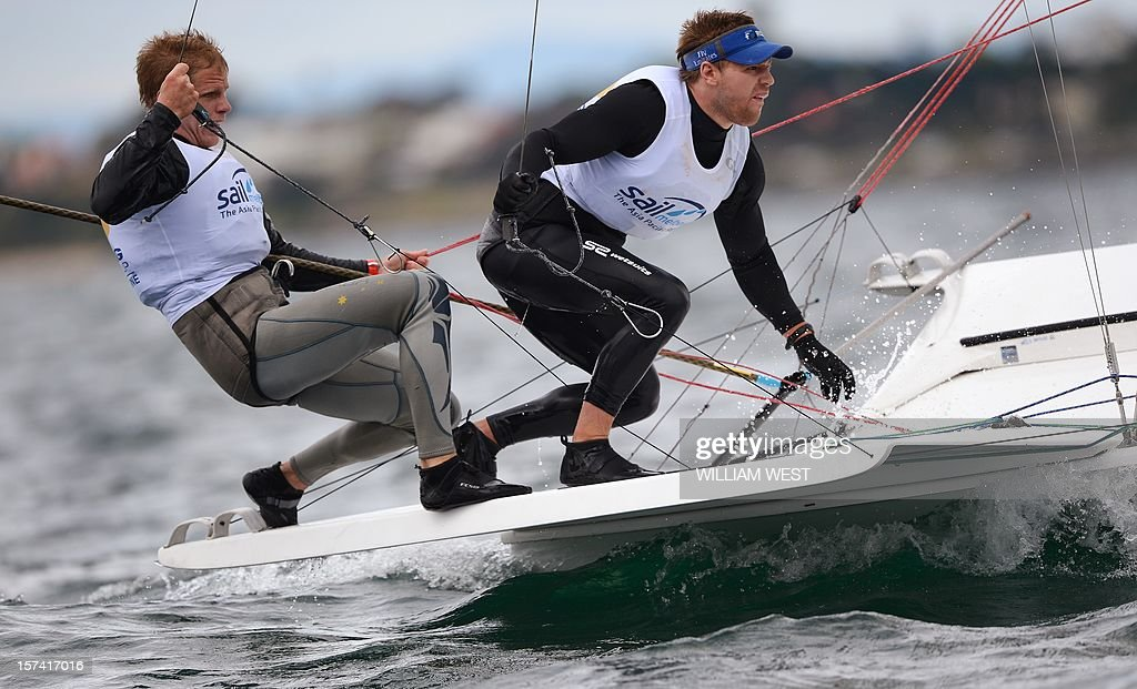 Fang Warren and Luke Parkinson of Australia compete in the 49er class at the ISAF Sailing World Cup event in Melbourne, on December 3, 2012. AFP PHOTO/William WEST IMAGE