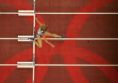 Fani Halkia of Greece competes in the women's 400 metre hurdle semifinal on August 22 2004 during the Athens 2004 Summer Olympic Games at the Olympic...