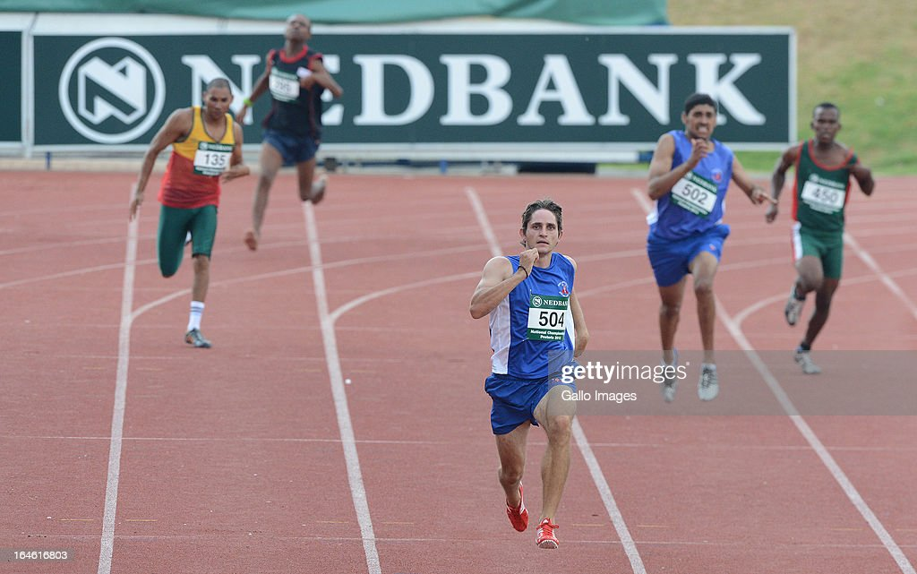 Fanie van der Merwe of WP runs in the 200m during day 3 of The Nedbank National Championships for the Physically Disabled (Athletics) at LC de Villiers Stadium on March 25, 2013 in Pretoria, South Africa.