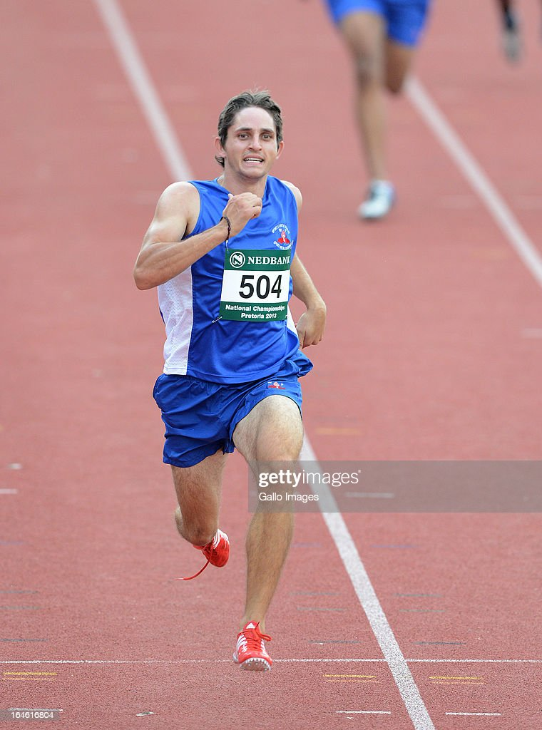 Fanie van der Merwe of WP wins the 200m during day 3 of The Nedbank National Championships for the Physically Disabled (Athletics) at LC de Villiers Stadium on March 25, 2013 in Pretoria, South Africa.