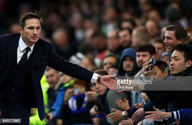 Fank Lampard shakes hands with fans at half time during the Premier League match between Chelsea and Swansea City at Stamford Bridge on February 25...