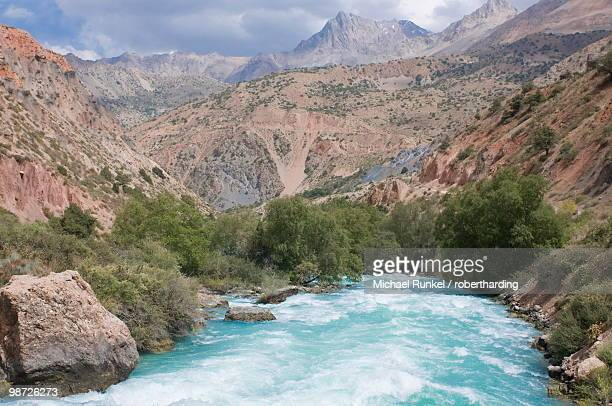 Fann Mountains with river, Iskanderkul, Tajikistan, Central Asia