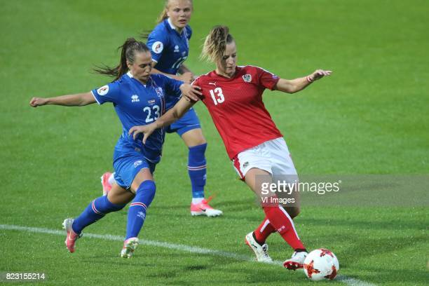 Fanndis Fridiksdottir of Iceland women Virginia Kirchberger of Austria women during the UEFA WEURO 2017 Group C group stage match between Iceland and...