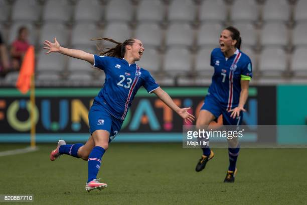 Fanndis Fridriksdottir of Iceland celebrates scoring her sides first goal during the UEFA Women's Euro 2017 Group C match between Iceland and...