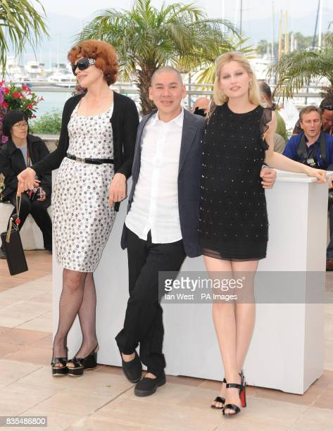 Fanny Ardent Tsai MingLiang and Laetitia Casta attend a photocall for new film Visage during the Cannes Film Festival at the Palais de Festival in...