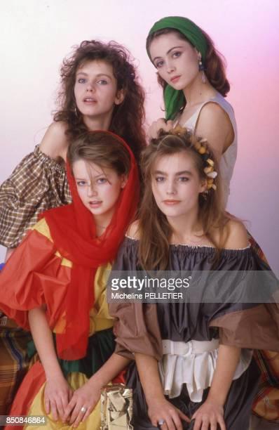 Fanny Bastien Sophie Duez Laure Marsac et Emmanuelle Béart jeunes espoirs du cinéma français à Paris en février 1985 France