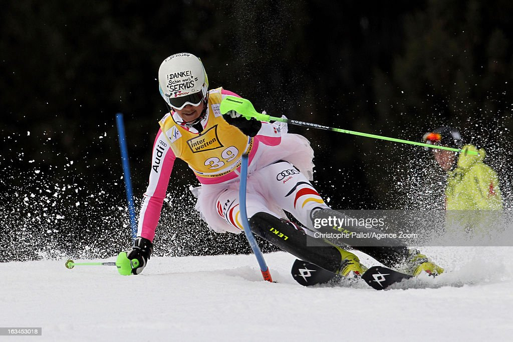 Fanny Chmelar of Germany competes during the Audi FIS Alpine Ski World Cup Women's Slalom on March 10, 2013 in Ofterschwang, Germany.