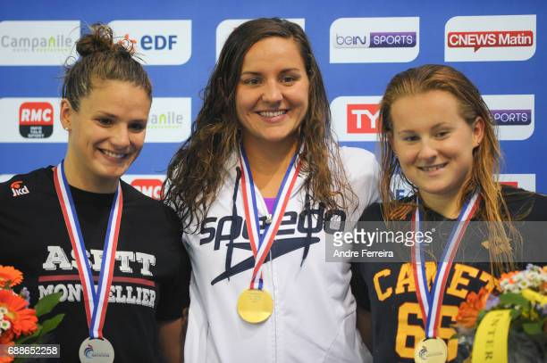 Fanny Deberghes and Solene Gallego and Nolwenn Herve during the Women's 50m Breaststroke on Day 3 of the French National Swimming Championships on...