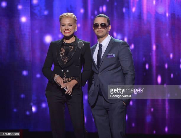 Fanny Lu and J Alvarez speaks onstage at Premio Lo Nuestro a la Musica Latina 2014 at American Airlines Arena on February 20 2014 in Miami Florida
