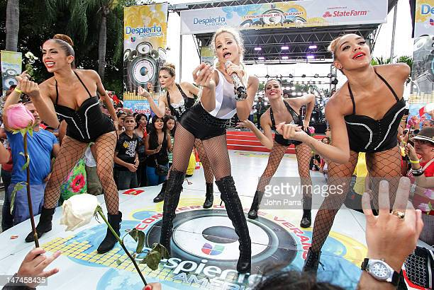 Fanny Lu performs During Univision's 'Despierta America' Morning Concert on June 29 2012 in Miami Florida