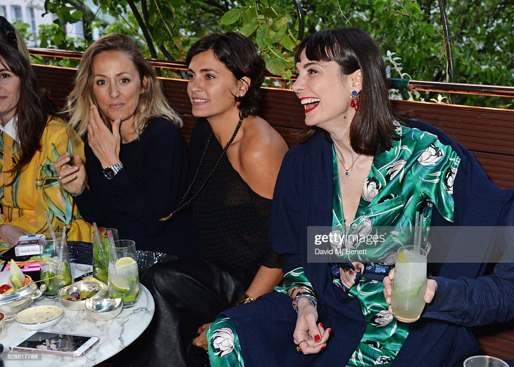 Fanny Moizant, Jessica Lemarie Pires and Maria Kastani attend a private dinner hosted by Rodial founder Maria Hatzistefanis & Bay Garnett at Casa Cruz on May 5, 2016 in London, England.