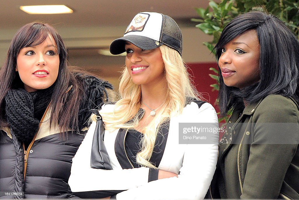 Fanny Neguesha (C) girlfriend of Balotelli attends during the Serie A match between AC Milan and US Citta di Palermo at San Siro Stadium on March 17, 2013 in Milan, Italy.