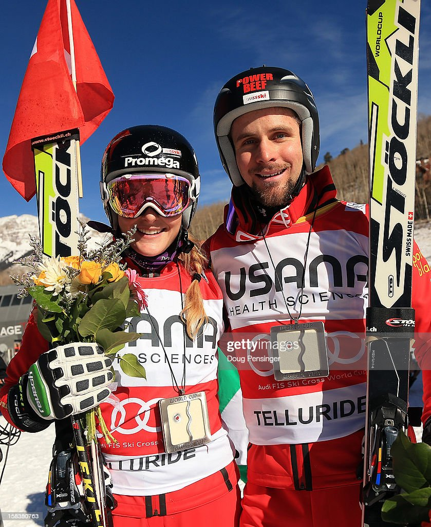 Fanny Smith of Switzerland and Armin Niederer of Switzerland display their overall points leaders bibs after their finishes in the Audi FIS Ski Cross World Cup on December 12, 2012 in Telluride, Colorado.