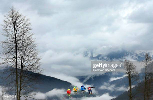 Fanny Smith of Switzerland Anna Holmlund of Sweden Katrin Ofner of Austria and Kelsey Serwa of Canada compete in the Freestyle Skiing Womens' Ski...