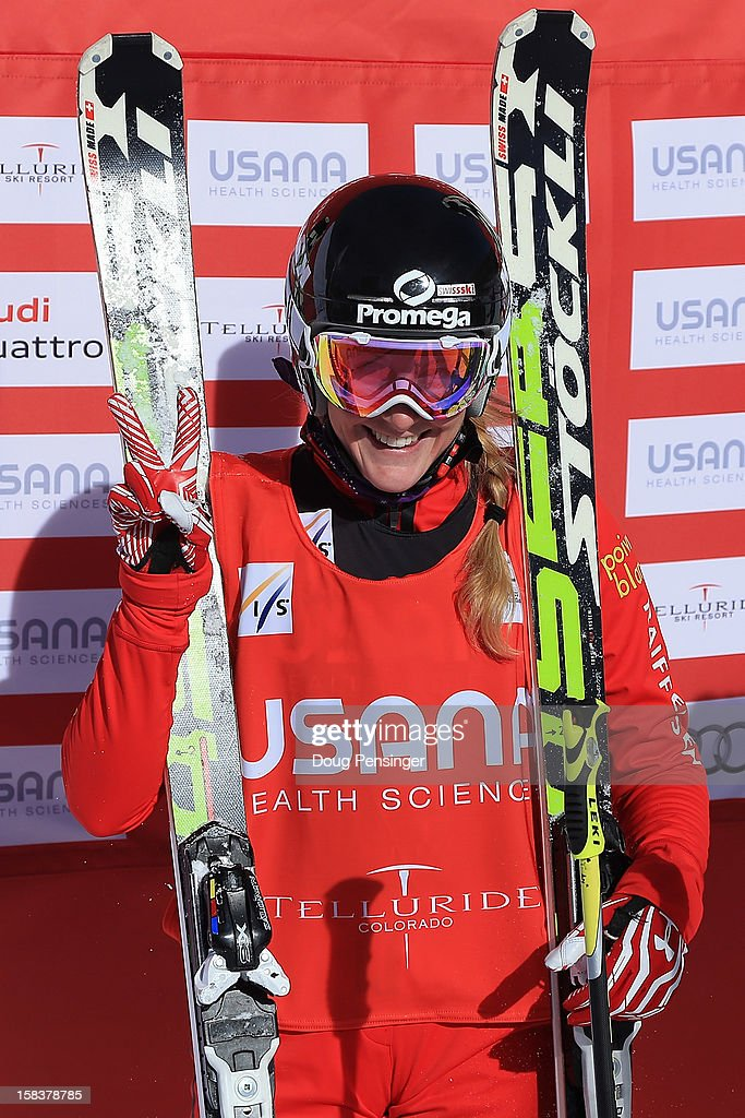 Fanny Smith of Switzerland celebrates after her semi final heat win en route to the gold medal in the Audi FIS Ski Cross World Cup on December 12, 2012 in Telluride, Colorado.