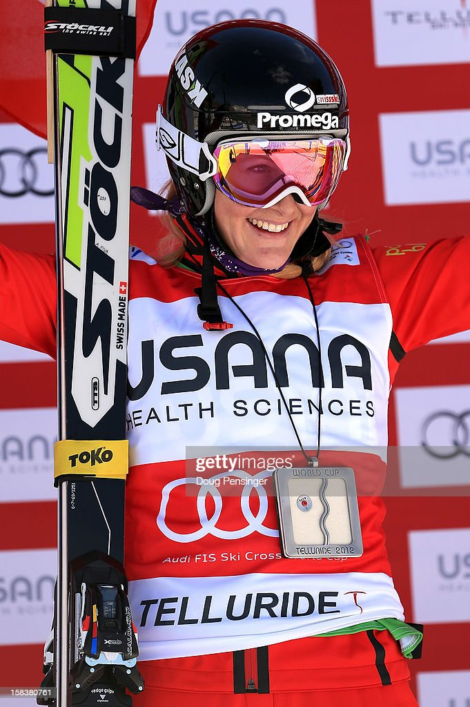 Fanny Smith of Switzerland celebrates on the podium after winning the women's Audi FIS Ski Cross World Cup on December 12, 2012 in Telluride, Colorado.