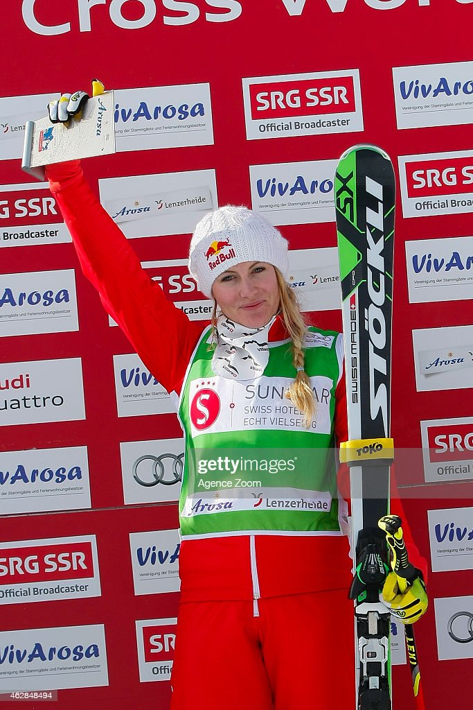 <a gi-track='captionPersonalityLinkClicked' href=/galleries/search?phrase=Fanny+Smith&family=editorial&specificpeople=6704843 ng-click='$event.stopPropagation()'>Fanny Smith</a> of Switzerland takes 1st place during the FIS Freestyle Skiing World Cup Ski Cross on February 07, 2015 in Arosa, Switzerland.