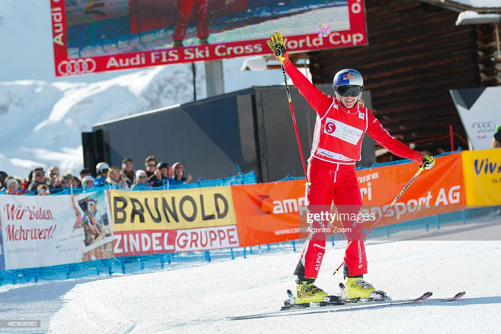 <a gi-track='captionPersonalityLinkClicked' href=/galleries/search?phrase=Fanny+Smith&family=editorial&specificpeople=6704843 ng-click='$event.stopPropagation()'>Fanny Smith</a> takes 1st place during the FIS Freestyle Skiing World Cup Ski Cross on February 07, 2015 in Arosa, Switzerland.