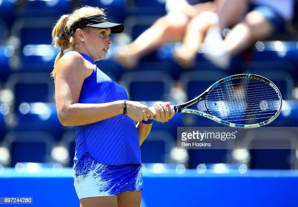 Fanny Stollar of Hungary reacts during the qualifying match against Jana Fett of Croatia on day two of qualifying for the Aegon Classic at Edgbaston...