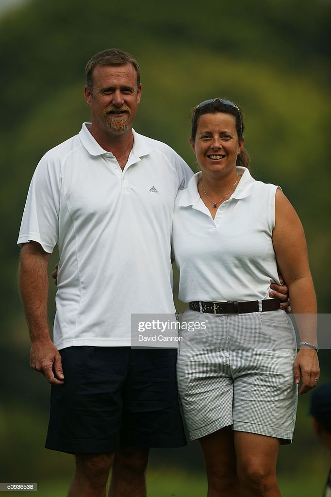 Fanny Sunesson of Sweden with her husband Eric during the second round of the Johnnie Walker Classic at the Alpine Golf Club on January 30, 2004 in Bangkok, Thailand. (Photo by David Cannon/Getty Images).
