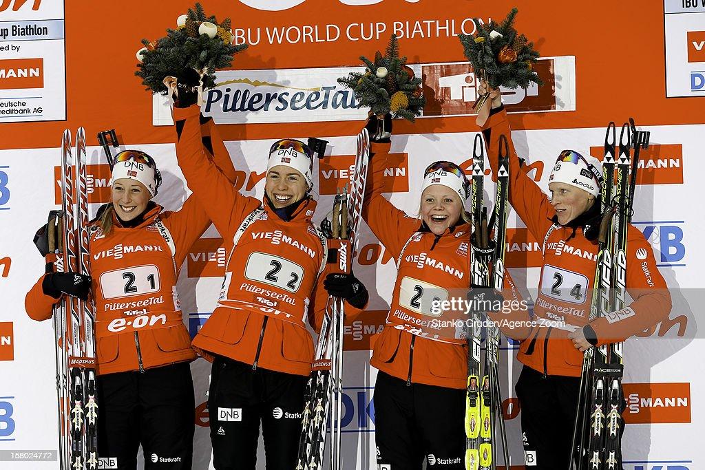 Fanny Welle-Strand Horn, Synnoeve Solemda, Fenne Hilde, Tora Berger of Norway take 1st place during the IBU Biathlon World Cup Women's Relay on December 09, 2012 in Hochfilzen, Austria.
