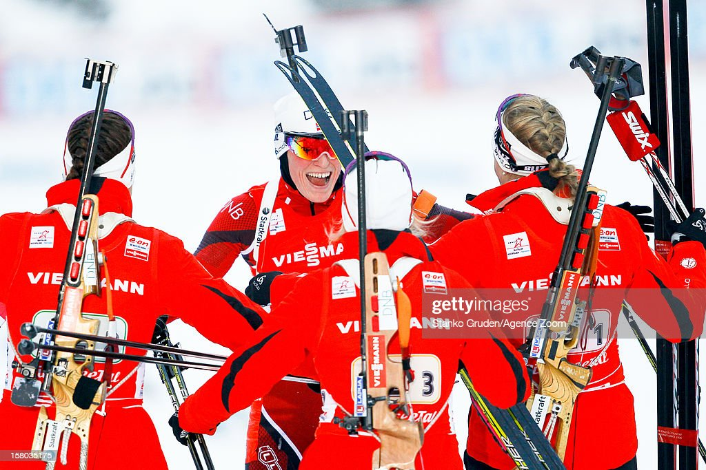 Fanny Welle-Strand Horn, Synnoeve Solemda, Fenne Hilde, Tora Berger of Norway take 1st place during the IBU Biathlon World Cup WomenÕs Relay on December 09, 2012 in Hochfilzen, Austria.