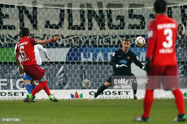 Fanol Perdedaj of Frankfurt scores his team's second goal during the Second Bundesliga match between 1 FC Heidenheim and FSV Frankfurt at VoithArena...