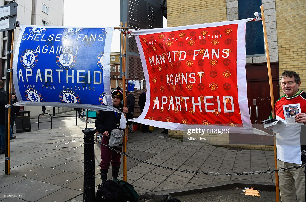 Fans against apartheid banners on display outside the stadium prior to the Barclays Premier League match between Chelsea and Manchester United at Stamford Bridge on February 7, 2016 in London, England.