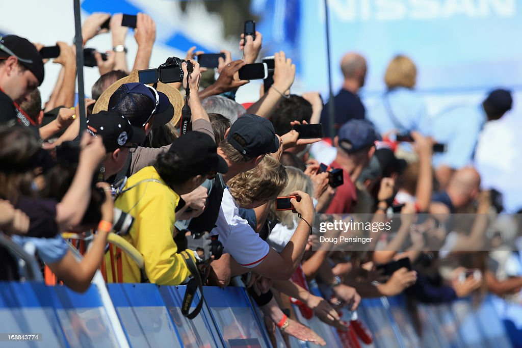 Fans aim their cameras at the finish line during Stage Four of the 2013 Amgen Tour of California from Santa Clarita to Santa Barbara on May 15, 2013 in Santa Barbara, California.