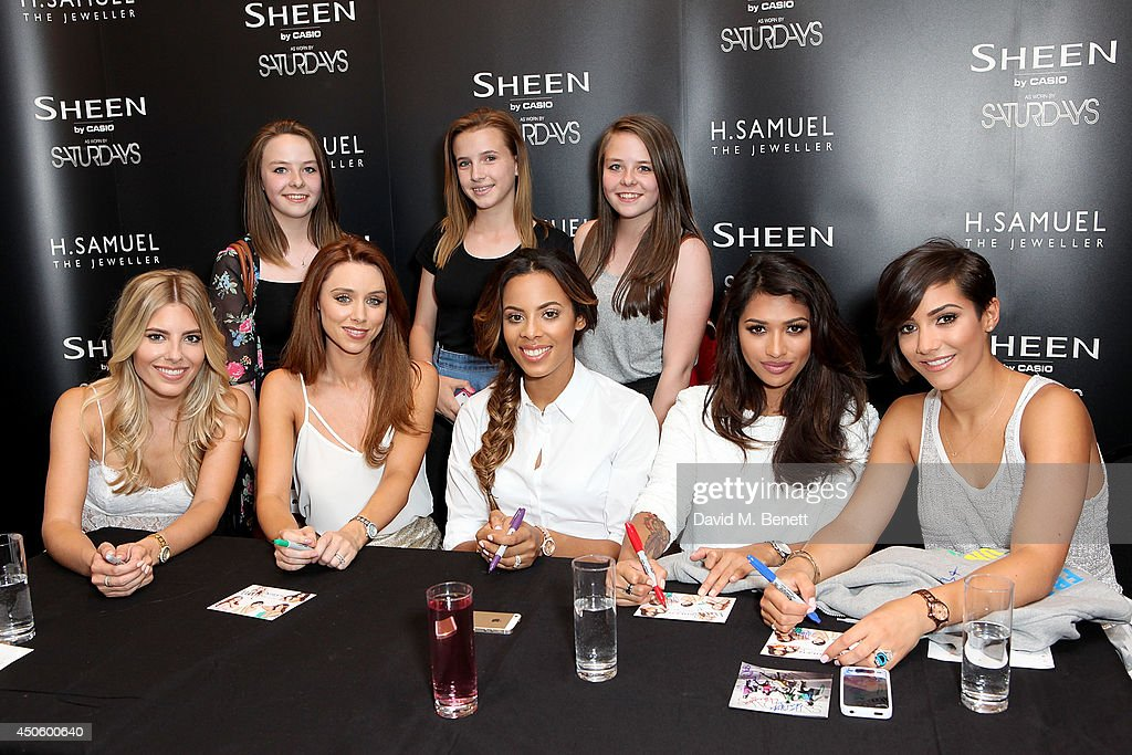 Fans All Fired Up to meet with Casio Sheen brand ambassadors The Saturdays at HSamuel Mollie King Una Foden Rochelle Wiseman Vanessa White and...