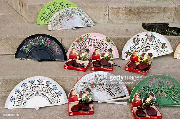 Fans and castanets on the Plaza de Espana, Seville, Andalucia, Spain, Europe