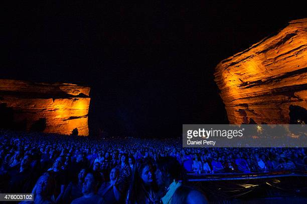Fans and concertgoers look on as Ryan Adams performs at Red Rocks Amphitheatre on June 4 in Morrison Colorado