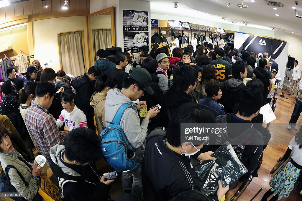 Fans and guests prepare for a player appearance and signing with members of the Oakland Athletics at Oshman's on March 25, 2012 in Tokyo, Japan. The Oakland Athletics are in Japan for the 2012 Major League Baseball Japan Opening Series against the Seattle Mariners at the Tokyo Dome.