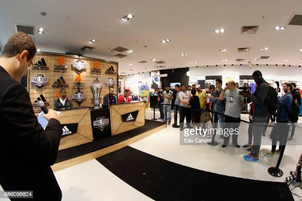 Fans and journalists with Luigi Datome #70 of Fenerbahce Istanbul Vangelis Mantzaris #17 of Olympiacos Piraeus and Anthony Randolph #3 of Real Madrid...